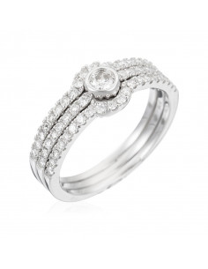 Bague Orientale Royale Or Blanc et Diamant 0,24ct