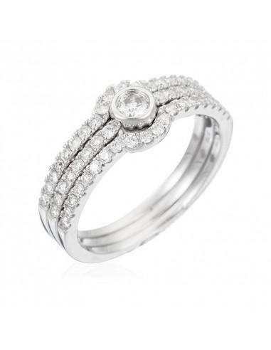 Bague Orientale Royale Or Blanc et Diamant 0,24ct