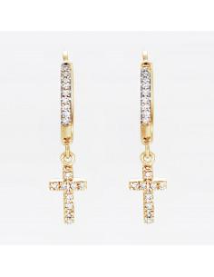 Boubles d'oreilles Impératrice Diamants 0,76ct Or Bicolore