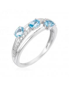 Bague Précieux Quartz Or Rose et Diamant 0,08ct Quartz rose 0,45ct