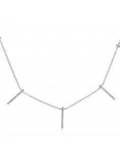 Bague Chaine Barre scintillante Or Blanc et Diamant 0,05ct