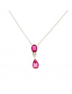 Boucles d'oreilles Elégantes Or Rose et Diamant 0,02ct Améthyste 1,56ct