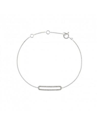Boucles d'oreilles Sages Or Blanc et Diamant 0,1ct Topaze 0,24ct