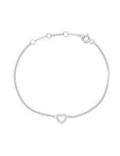 Boucles d'oreilles Bonheur en suspens Or Blanc et Diamant 0,25ct Saphir 0,34ct