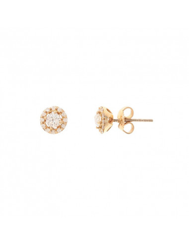 Boucles d'oreilles Amour Pur Or Jaune et Diamant 0,03ct