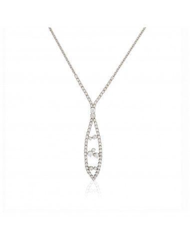 Pendentif Double cerceaux Or Blanc et Diamant 0,11ct