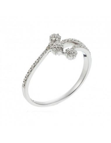 Bracelet Doubles Bulles Blanche et Noire Or Blanc et Diamant 0,12ct Diamant noir