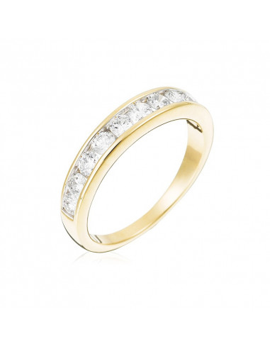 Bague Belle Alliance Tour Complet Or Jaune et Diamant 0,16ct