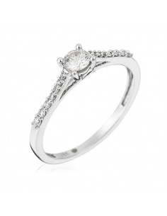 Bague Alliance Eclat Or Blanc et Diamant 0,27ct
