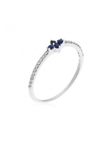 """Bague """"Coquette"""" Diamant 0,08/20 Saphir 0,12/4"""