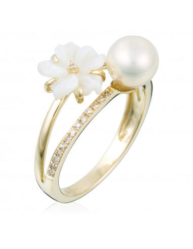 """Bague Diamants """"Fleur perlée"""" 0,09/26, Perle 1,68/1, Nacre Blanche 0,78/1"""