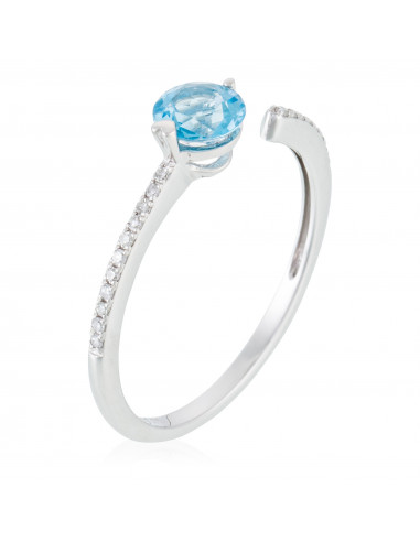 """Bague """"Blueberry"""" Diamant 0,06/19 et Topaze 0,63/1"""