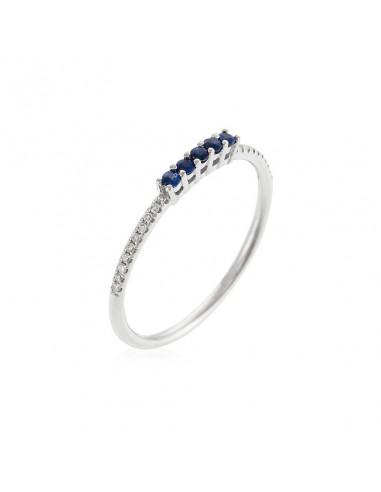 """Bague """"Alliance Lisière"""" Diamant 0,06/20 Saphir 0,12/5"""