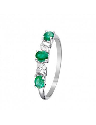 "Bague ""Abaya"" Diamants 0,03/6 & Emeraudes 0,60/3"