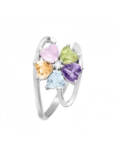 """Bague """"Color Explosion"""" Diamants 0,02/1 &  Amé,Top,RosTourm,Citri et Per1,51/5"""