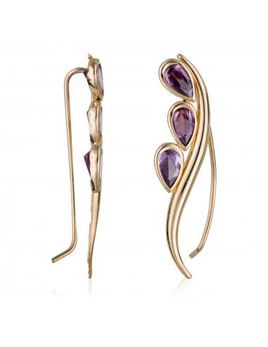 """Boucles d'oreilles """"Pétales violettes"""" Or Jaune 375/1000"""