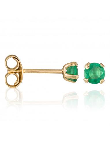 "Boucle d'Oreilles ""Puce Emeralda"" Or Jaune 375/1000"