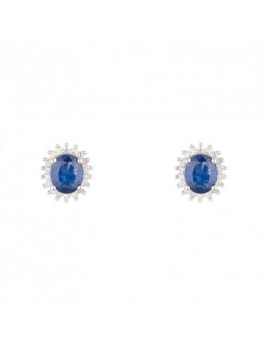 """Boucles d'oreille """"Abra"""" Diamants 0,13/36 et Saphirs 1,1/2"""
