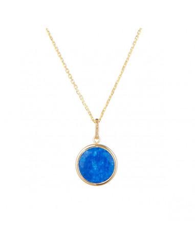 Pendentif Jade Bleu, Or jaune 375/1000
