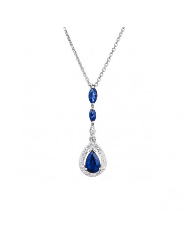 "Pendentif ""Zanzibar"" Diamants 0,02cts/7 & Saphirs 0,97cts/3"