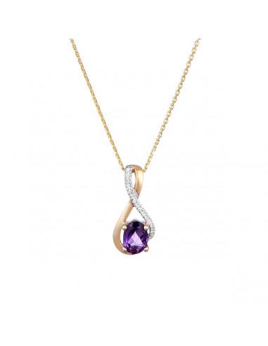 "Pendentif ""Mayotte"" Diamants 0,03cts/8 + Améthyste 0,75cts/1"