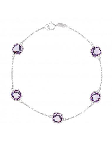 "Bracelet ""Pépites Améthyste"" Or blanc 375/1000"