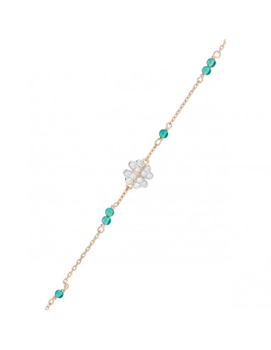 "Bracelet ""Felicidade"" D0,11/12 & Agate Verte 0,12/1"