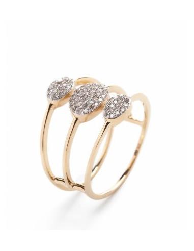 "Bague Or Jaune 375/1000 ""Trio scintillants"" Diamants : 0,25/72"