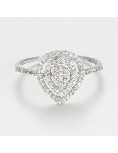 Bague Or Blanc 375/1000 Diamants 0,25cts/78