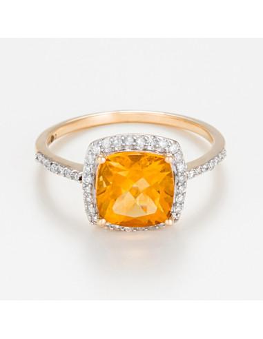 """Bague Or Jaune 375/1000 """"Rio Grande"""" Diamants 0,22ct/42"""