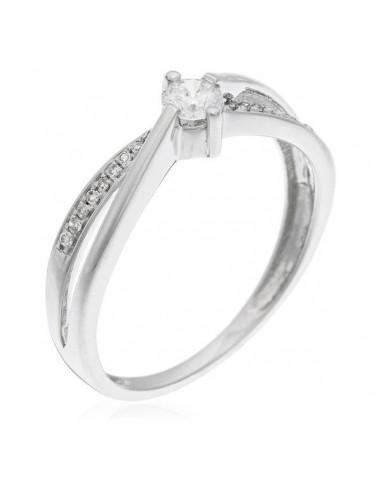 "Bague Or Blanc 375/1000 ""Joli Petit Solitaire"" Diamants 0,15/1 & 0,05/18"