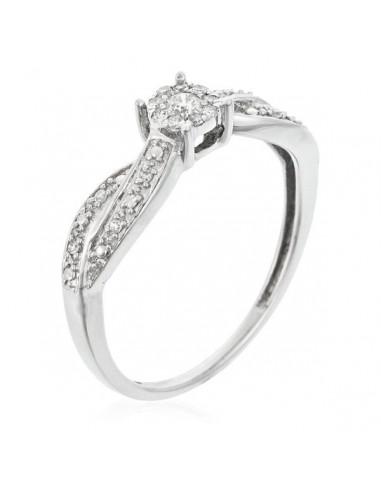 """Bague Or Blanc 375/1000 """"Eclat Joli"""" Diamant 0,12/18"""