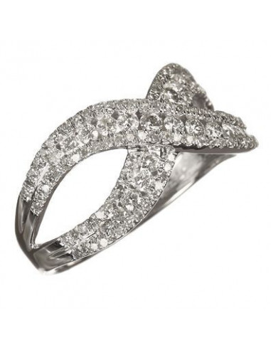 "Bague Or Blanc 375/1000 ""A l'infini"" Diamants 0,74ct/136"