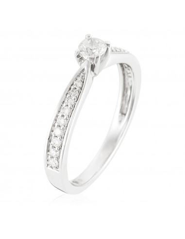"""Bague Or Blanc 375/1000 """"I Do"""" D0,2ct/1 & 0,14ct/18"""