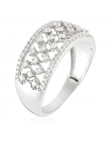 """Bague Or Blanc 375/1000 """"The Crown"""" D0,4ct/74"""