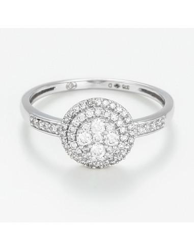 Bague Or Blanc 375/1000 Trefle des Diamants D0,30/64