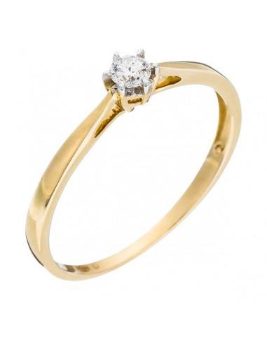 """Bague Or Jaune 375/1000 """"Solitaire envoûtant"""" Diamant 0,11/1"""