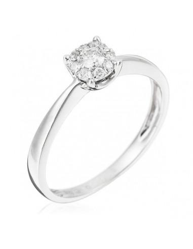 "Bague Or Blanc 375/1000 ""Brillant Lucia 17ct"" Diamants 0,09/1+0,08/9"