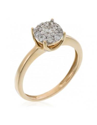 """Bague Or Jaune 375/1000 """"Brillant Luciana 0,50"""" Diamants 0,23ct/1 & 0,27/9"""
