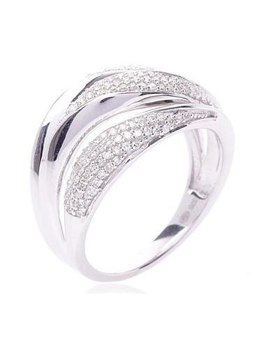"Bague Or Blanc 375/1000 ""Java"" Diamants: 0,41/137"
