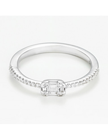 """Bague Or Blanc 375/1000 """"Solitaire Romina"""" 0,12ct/31"""