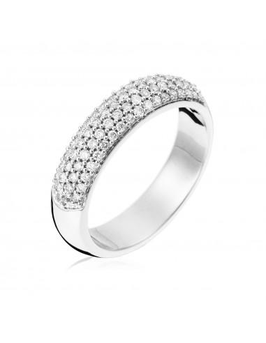 """Bague Or Blanc 375/1000 """"Sincerité"""" Diamants 0,4/70"""