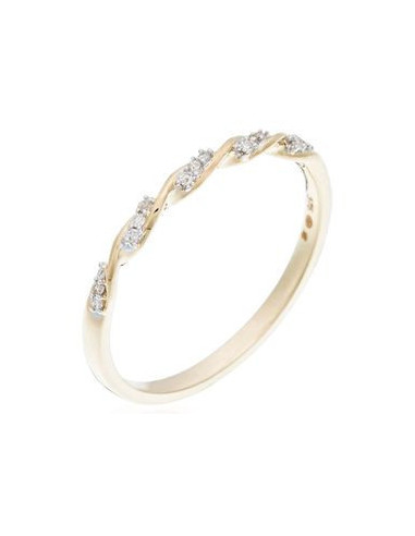 """Bague Or Jaune 375/1000 """"Eternelle Torsade"""" Diamant 0,05cts/15"""
