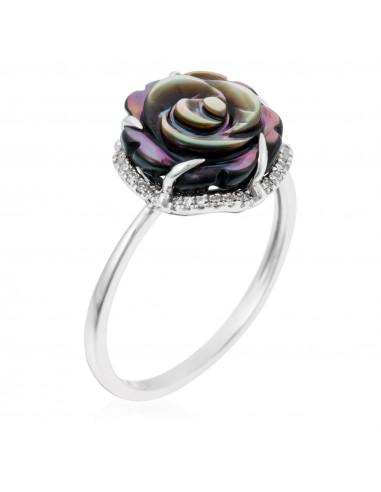 """Bague Or Blanc 375/1000 """"Diamond's Rose"""""""