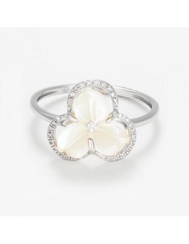 """Bague Or Blanc 375/1000 """"Fleur nacrée"""" Diamants 0,09/31 & Nacre"""
