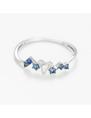 "Bague Or Blanc 375/1000 ""Blue Romantic"" Diamants 0,02/4 Saphir bleu 0,17/6"