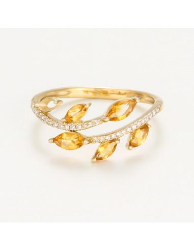 """Bague Or Jaune 375/1000 Diamants """"Ava"""" 0,09/32 et Citrine 0,58/6"""