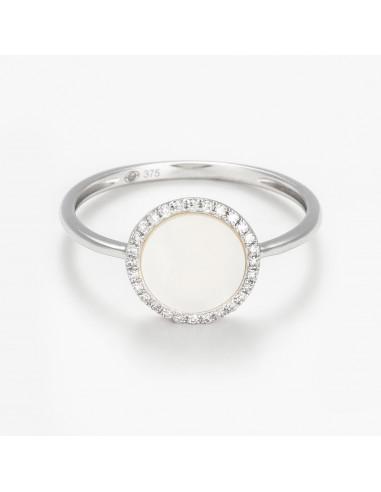 "Bague Or Blanc 375/1000 ""Round nacre"" Diamants 0,08/28 & Nacre"