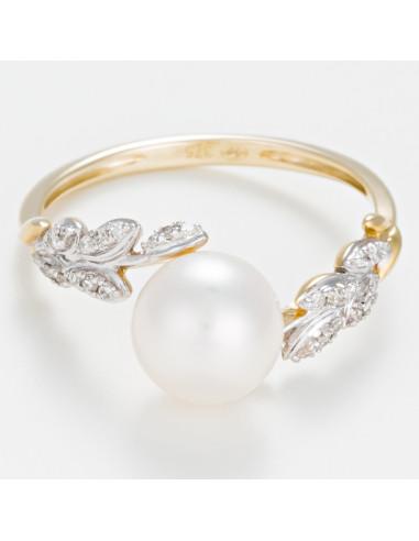 """Bague Or Jaune 375/1000 """"Laurier perlé"""" Diamants 0,08/30 et Perle Blanche"""