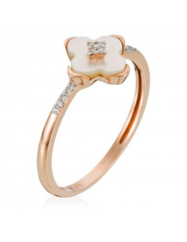 "Bague Or Rose 375/1000 ""Cardamine"" Diamants 0,03/10 et Nacre Blanche"